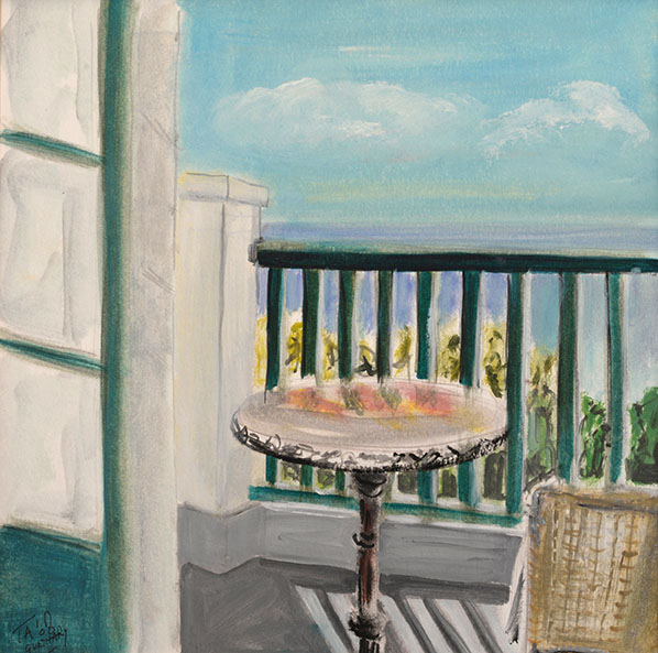 Balcony in Guethary, France. Acrylic on paper 30x30 cm Original sold