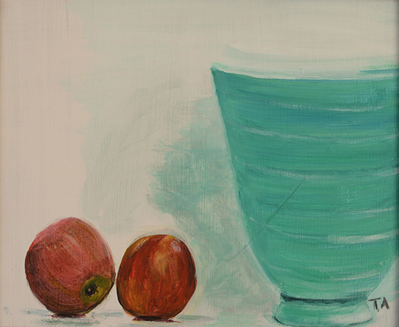 Two apples and vase Acrylic on board 30 x 25cm