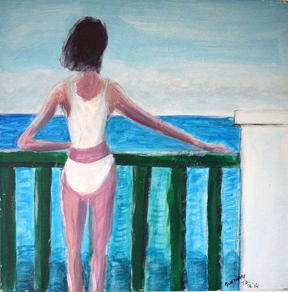Sur le balcon, Guethary, France Acrylic on canvas 50x50