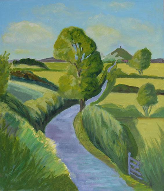 Towards TheTor (Glastonbury) Acrylic on canvas, 70 x 50cm