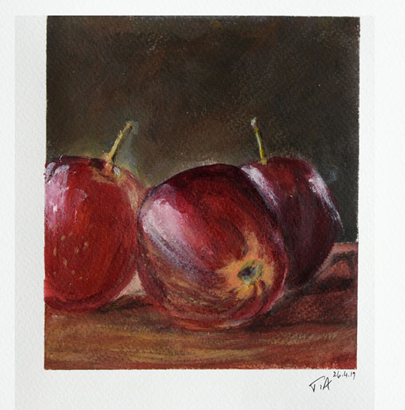 Apples on stool Acrylic on paper Image 15.5 x 14cm Paper
