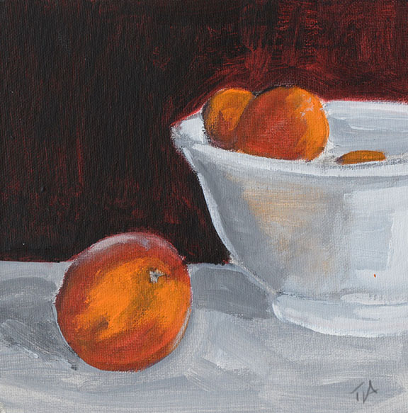 Apricots in a white bowl (For Sale) Acrylic on canvas board Size: 20 x 20cm