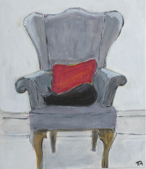 Bamboo in grandfather's chair Acrylic on board 39 x 33 cm