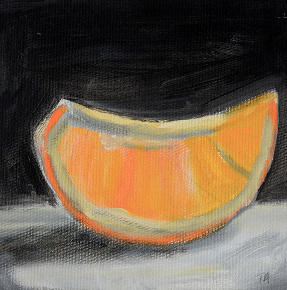 Orange piece (For Sale) Acrylic on canvas board Size: 20 x 20cm