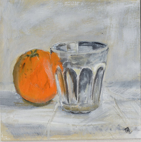 Orange and glass Acrylic on board 20 x 20cm