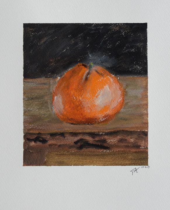 Tangerine on Stool Acrylic on Paper Image size 16 x4cm