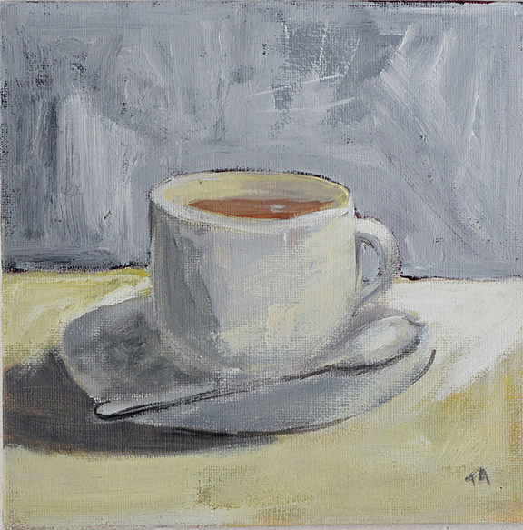 Teacup and saucer Acrylic on canvas board Size 20 x 20cm